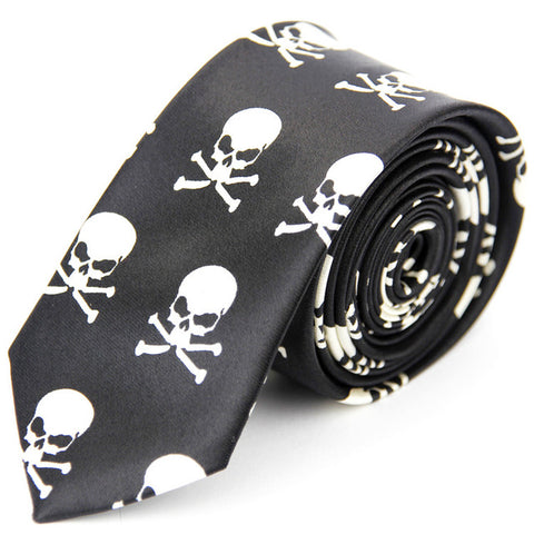 Skull Pattern Men's Slim Necktie for Business Attire in Black & White