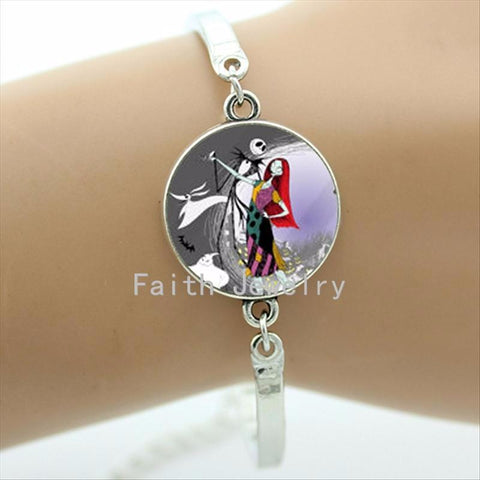 Nightmare Before Christmas Glass Dome Bracelet Zinc Alloy Metal Bangle
