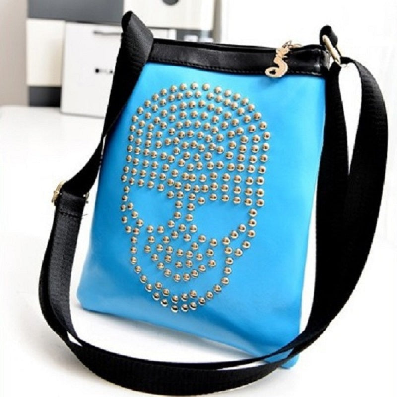 Skull Rivet Metal Studded Women's Leather Messenger Bag