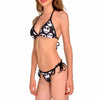 Jack Skellington Halter Top Emoji Pattern Beachwear Bikini Swimsuit in Black
