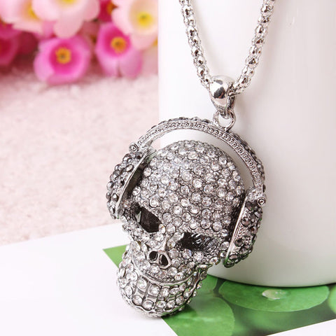 Rhinestone Studded Skull Headphone Zinc Alloy Pendant Necklace