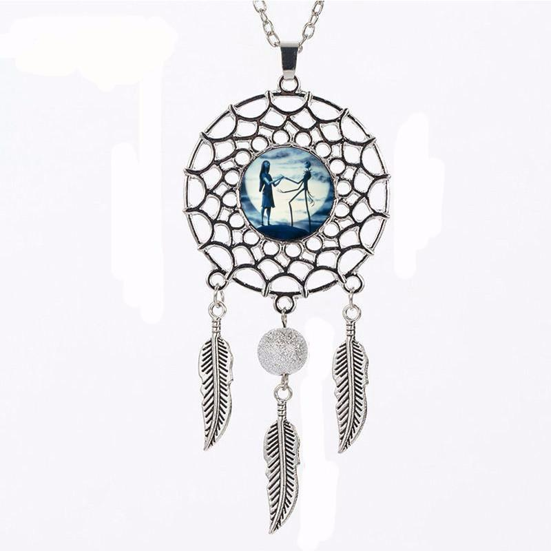 Nightmare Before Christmas Dream Catcher Pendant Zinc Alloy Chain Necklace