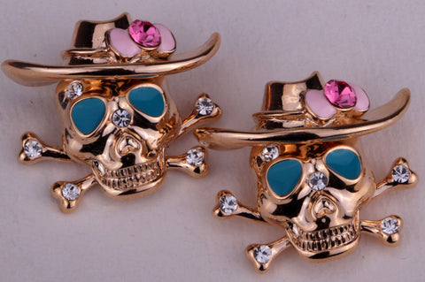 Cowboy Skulls Austrian Zinc Alloy Screw Back Stud Earrings