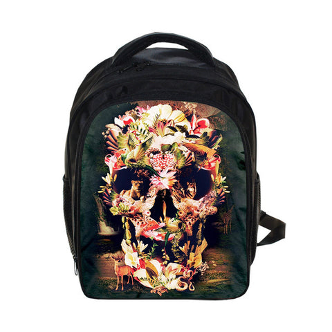 Gothic Skull Pattern Casual Backpack Travel Knapsack Laptop Bag in Black
