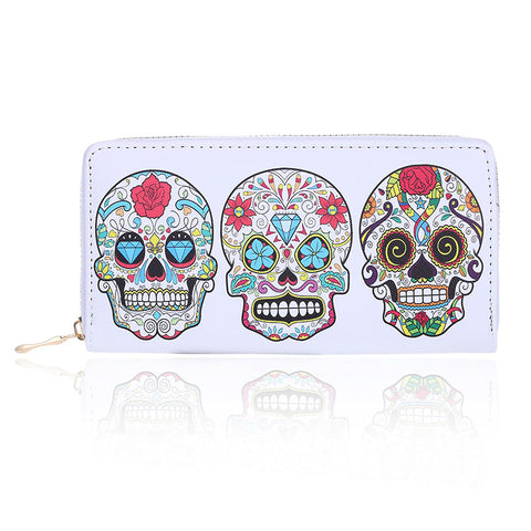 Floral Skull Synthetic PU Leather Zip Around Clutch Wallet
