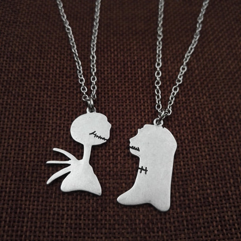 Jack Skellington & Sally Link Chain Pendant Zinc Alloy Couple Necklace