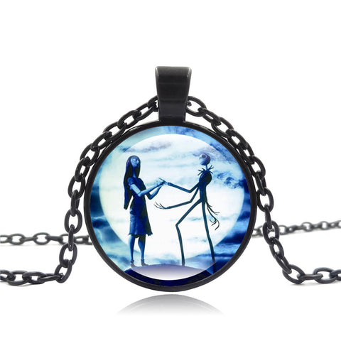 Jack Skellington and Sally Simply Meant To Be Chain Link Glass Cabonchon Pendant Necklace