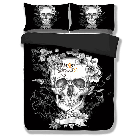 Queen Bed, King Bed, and Twin Bed -Skull & Roses 3-Piece Bedding Set, Sheet, Pillowcase & Duvet Set in Black & White