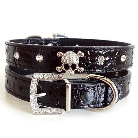 Skull Design Synthetic Leather Dog Collar with Rhinestone Insert