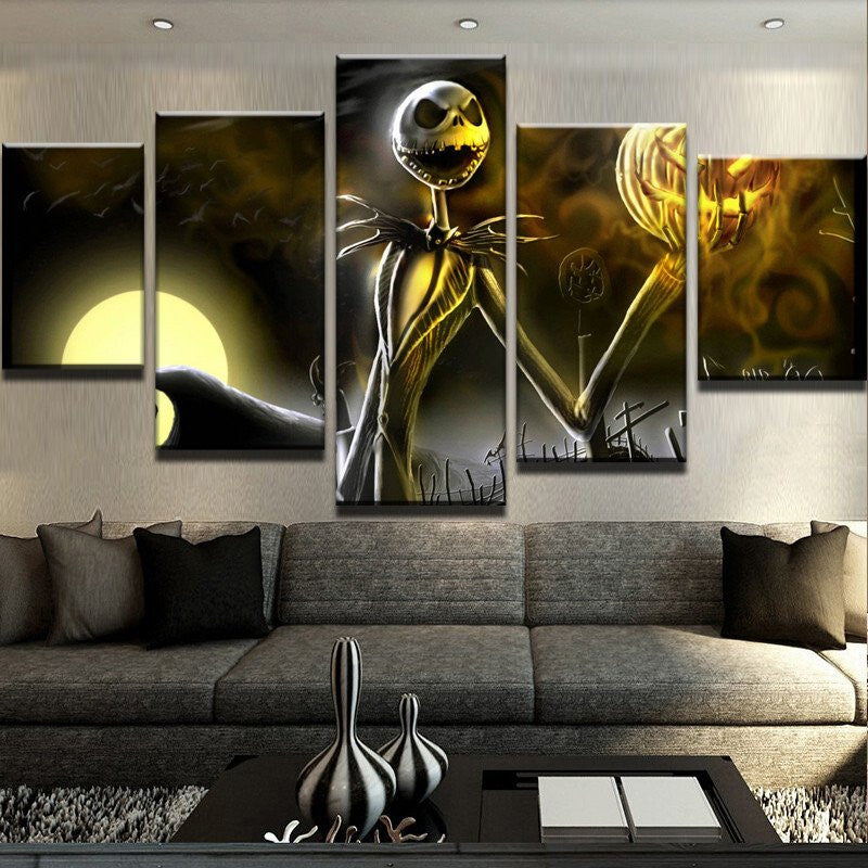 Jack Skellington Painting Modular Canvas Wall Art Pictures 5 ...
