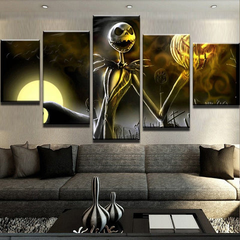 Jack Skellington Painting Modular Canvas Wall Art Pictures 5 Pieces Hallowmas