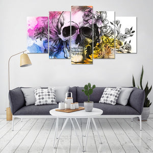 Watercolor Floral & Skull 5-Piece Painting Modular Canvas Wall Art Pictures Home Decoration Poster Frame