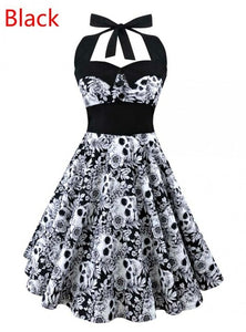 50's Vintage Style Skull & Floral Pattern Cocktail Retro Swing Dress in Black & White