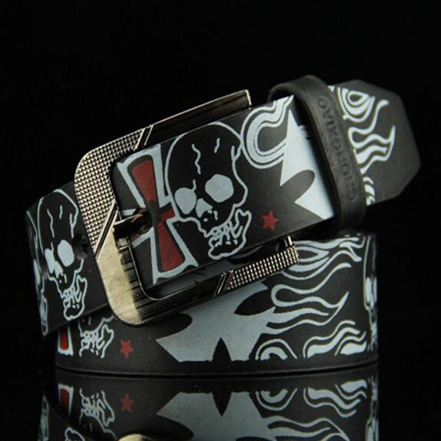 Skull Print Synthetic Leather Belt for Men and Women