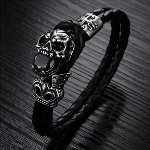 Punk Style Stainless Steel Skull Woven Style Leather Bracelet in Black