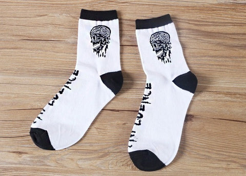 Skull Casual Crew Socks in Black and White