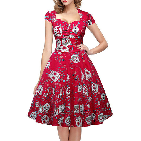 Skull Cap Sleeve Vintage Retro Designed Dress