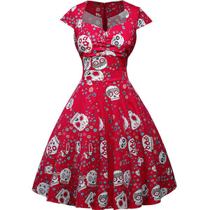 Skull Pattern Cap Sleeve Vintage Women's Swing Dress