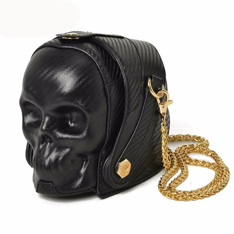 Skull Shoulder & Crossbody Bucket Clutch Bags with Chain Link for Women