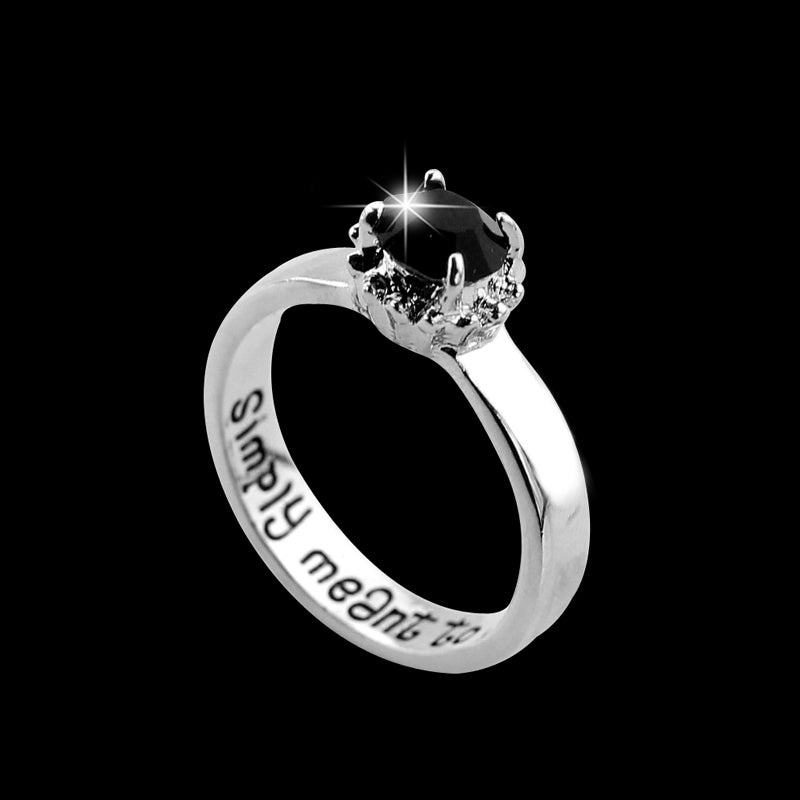 nightmare before christmas stainless steel engraved ring with black stone insert - Nightmare Before Christmas Wedding Rings