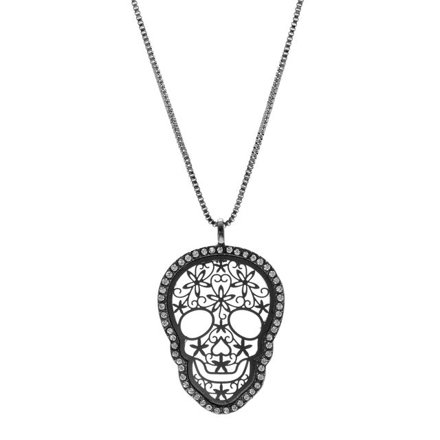 Vintage Style Skull Pendant Box Chain Copper Necklace