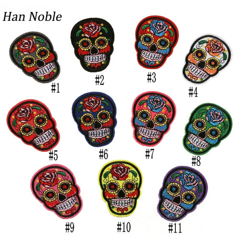 10-Piece Bohemian Style Skull Iron-On Embroidered Sticker Patches for Clothes DIY Sewing Accessories