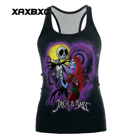 Jack Skellington & Sally Romance Women's Sleeveless Activewear for Sports & Fitness