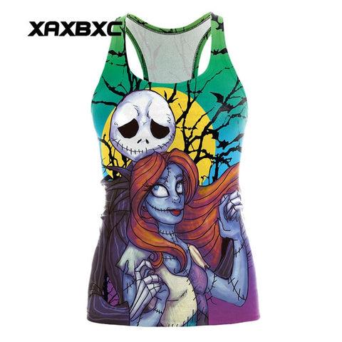 Jack & Sally Nightmare Before Christmas Women's Sleeveless Activewear for Sports & Fitness