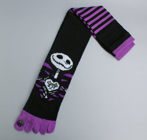 Nightmare Before Christmas High Toe Socks in Stripes Purple