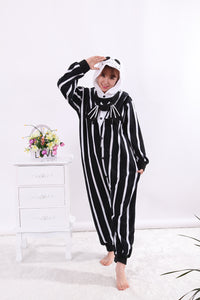 Nightmare Before Christmas Jack Skellington Pajama Onesie Hoodie Halloween Cosplay Costume for Adults