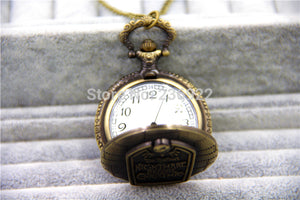 Nightmare Before Christmas Antique Quartz Pocket Watch Twisted Singapore Chain Necklace