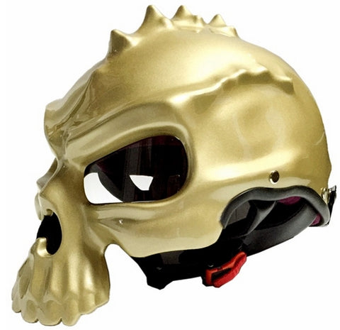 Masei Skull Shaped 3D Motorcycle Scooter Bike Helmet in Metallic Finish