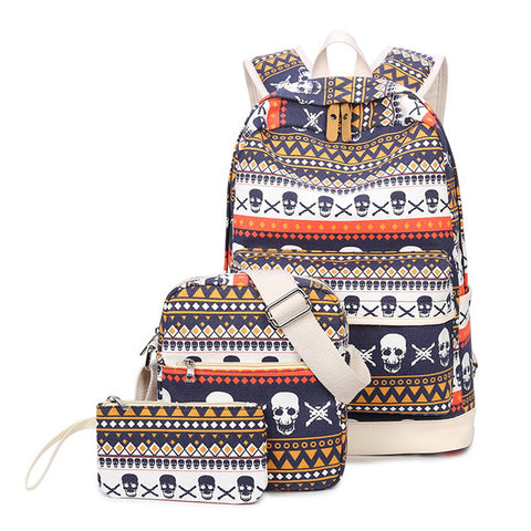 Geometric Skull Canvas 3-Piece Backpack, Shoulder Bag & Pencil Case Set - My Gift Of Today
