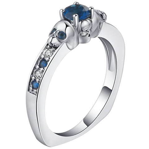 Skulls & Blue Crystals Princess Cut Cubic Zirconia Copper Band Rings for Women