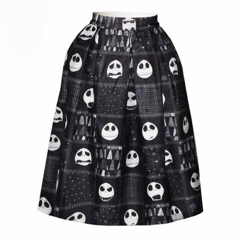 Jack Skellington Ladies Vintage Style Flared Midi Skirt in Black