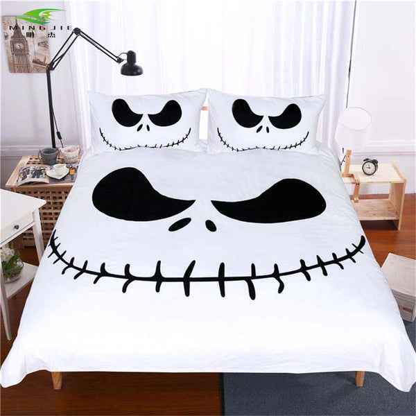 Cool Nightmare Before Christmas Gifts: Jack Skellington's Evil Smile 3-Piece Bedding Set In Black