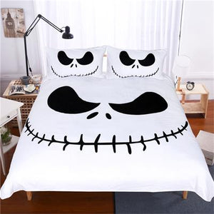 Queen Bed, King Bed, and Twin Bed - Nightmare Before Christmas Bedding Sets - Jack Skellington's Evil Smile 3-Piece Bedding Set in Black & White