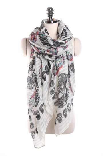 Skull Pattern Bohemian Style Shawl and Scarf Wrap Assorted Designs