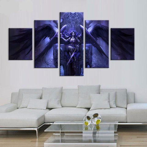 5 Panel Angel Wings Fantasy Canvas Prints Wall Art - My Gift Of Today