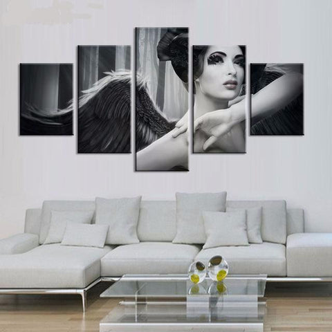 5 Panel Angel Wings Fantasy Canvas Prints Wall Art