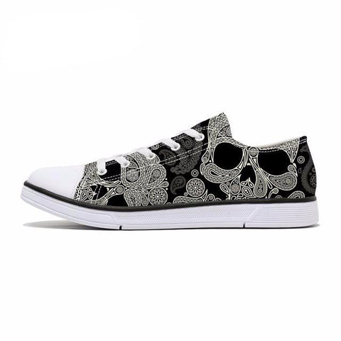 Skull Pattern Women's Classic Canvas Lace Up Sneakers in Black