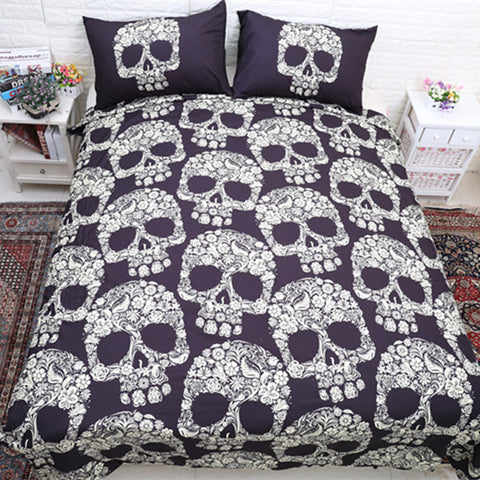 Queen Bed, King Bed, and Twin Bed - Skull Pattern 3-Piece Bedding Set Pillowcase & Duvet in Black and White