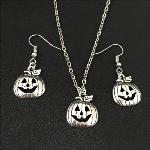 Pumpkin Patch Fashion Jewelry Necklace and Earring Alloy Metal Set