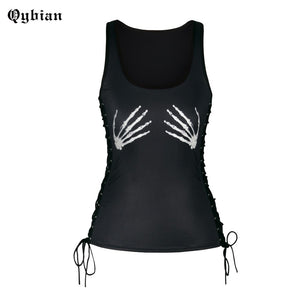 Skeleton Hands Black Women's Activewear Tank Top for Fitness & Sports