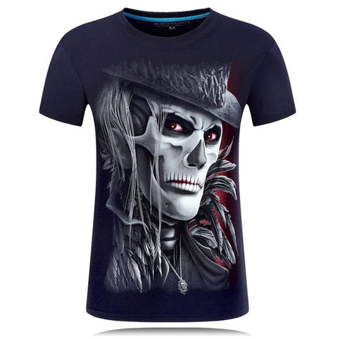 Skull Design Casual Graphic Print Crew Neck T-Shirt