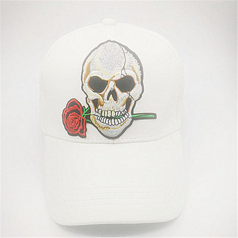 Skull and Rose Embroidered Faux Leather Cap in Assorted Colors