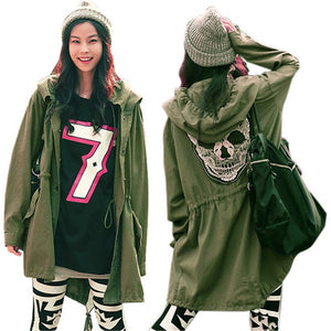 Army Jacket Skull Embroidery Women's Hooded Parka Trench Coat