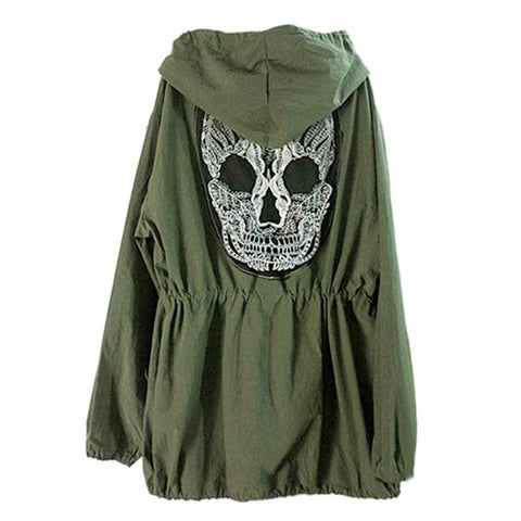 Army Jacket Skull Embroidery Women's Hooded Parka Trench Coat - My Gift Of Today