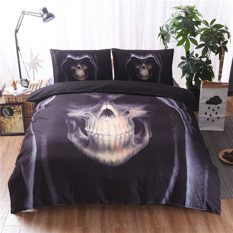 Queen Bed, King Bed, and Twin Bed - Gothic Skull Design 3-Piece Black Linen Duvet Cover, Bed Cover and Pillow Case Set