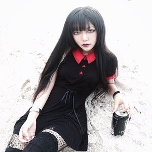 Gothic Lolita Dress with Red Peter Pan Collar Skull Button Women's Dress